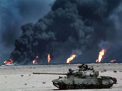 Burning Iraqi oil wells during Gulf War