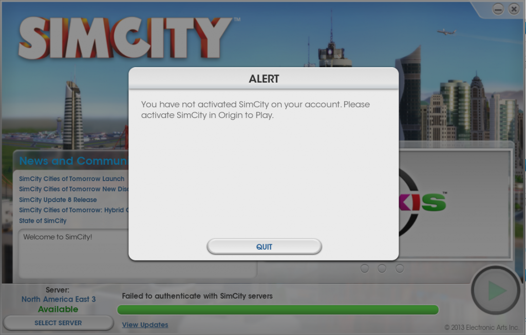 SimCity not activated, lies